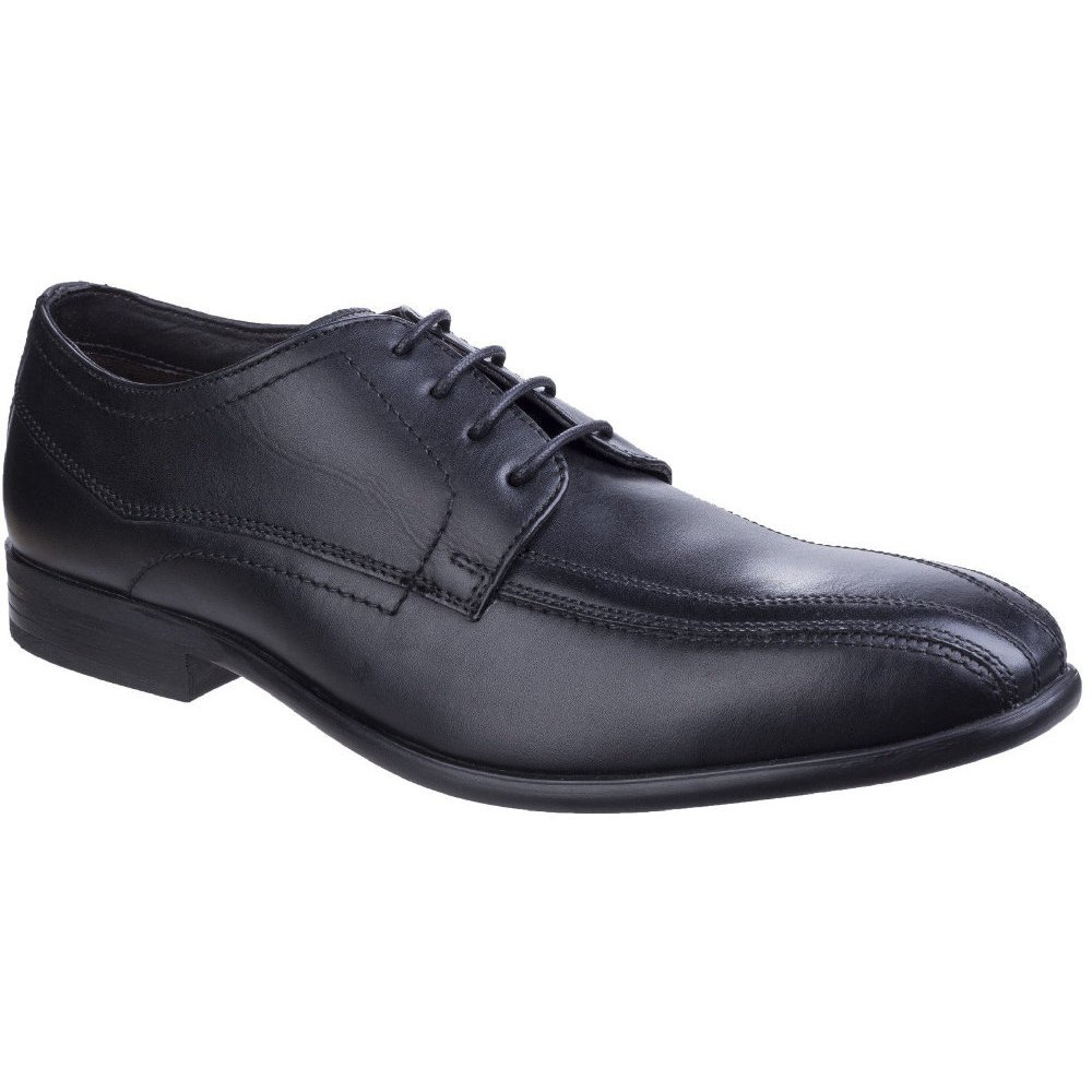 Base London Mens Gilmore Sleek Formal Waxy Leather Derby Shoes 6|Black