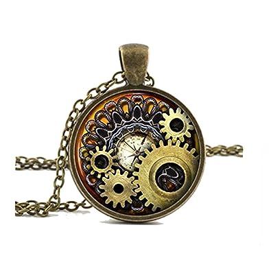 Compass Necklace Pendant Vintage Bronze Chain