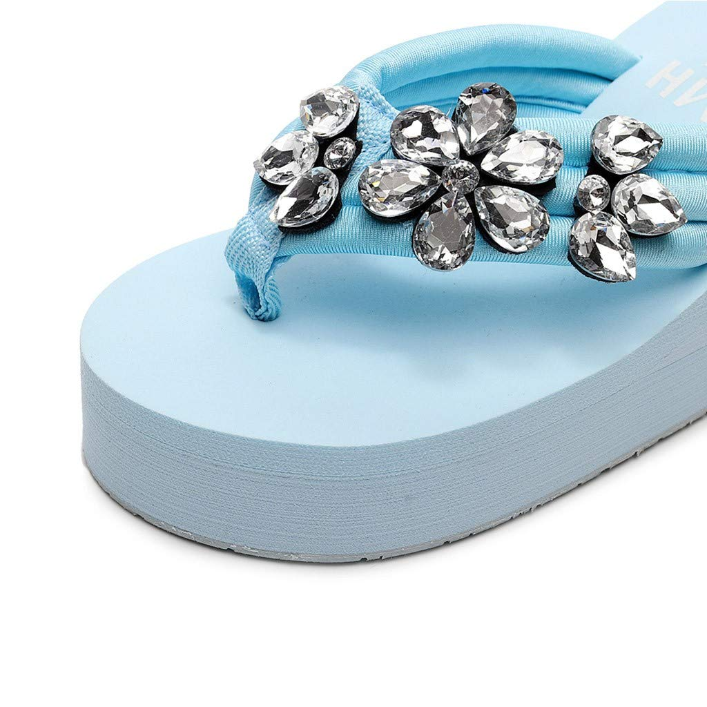 Summer Sandals Slippers,Girls Womens Fashion Hand-Made Crystal Wedges Flip Flops Slides Ladies Beach Shoes