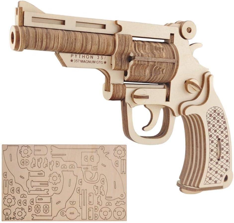 ANGGREK 3D Woodcraft Assembly Kit, 3D Rompecabezas de Madera DIY Rompecabezas Hechos a Mano revólver Modelo revólver estereoscópico Pistola Hobby Kid Bloques de construcción Decorativos