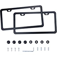LivTee Black Aluminum License Plate Frames, 2 PCS Car Licence Plate Covers Slim Design with Black Bolts Washer Caps for…