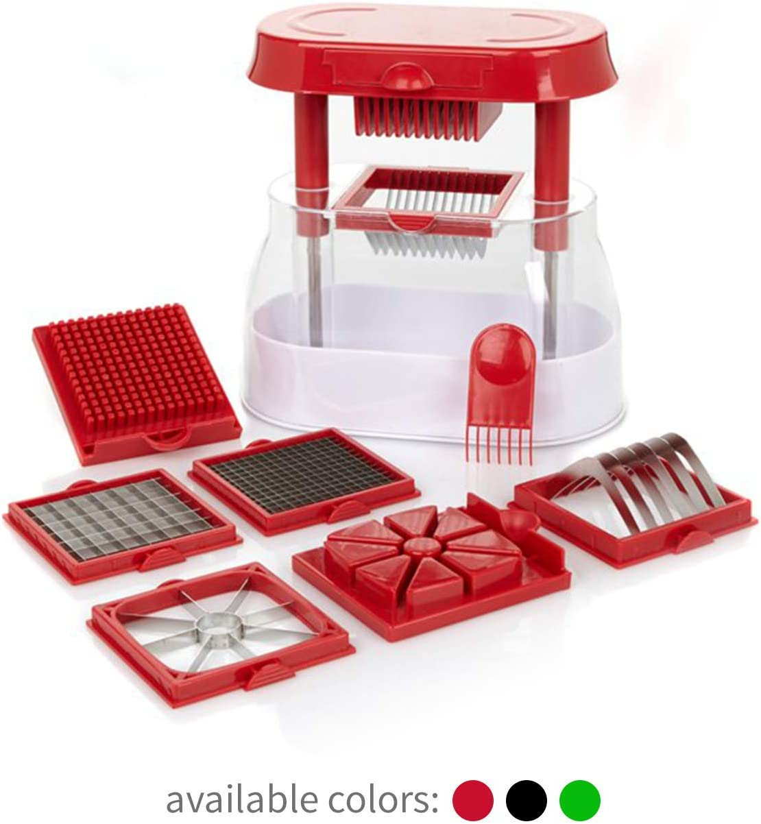 Ronco Veg-O-Matic Deluxe, Fruit and Vegetable Chopper, Interchangeable Stainless-Steel Blades, Food Cutter, Catch Container, Dishwasher Safe (Red)