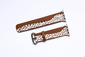 Compatible with Apple Watch 40mm 38mm Leather Watch Wrist Band Strap Bracelet with Stainless Steel Clasp and Adapters,Replacement for iWatch SE Series 6 5 4 3 2 1 Bands (Brown 38/40mm)