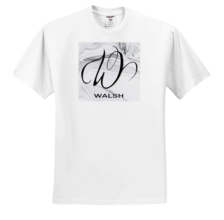 White Marble Monogram W Walsh Adult T-Shirt XL ts/_310139 3dRose BrooklynMeme Monograms