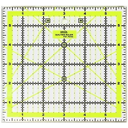 Clear Non Slip Patchwork /& Quilting Ruler Template with Grid 6 inch x 6 inch