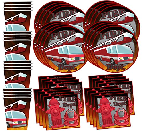 Price comparison product image Fire Fighter Birthday Party Supplies Set Plates Napkins Cups Tableware Kit for 16 by Birthday Galore