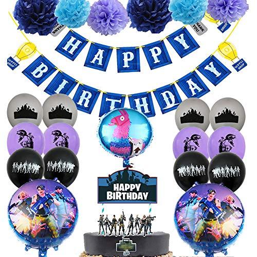 61bRcbroIQL. SS500 ◆ Para globos de aceite, no tóxicos y seguros, los globos son fuertes y duraderos y soportan helio o aire. Fiesta de cumpleaños única y brillante con el tema de púrpura-negro-azul. El color también puede darle a su hogar un ambiente brillante. ◆ Su kit contiene todo lo que necesita para invitados. Recibirá 1 cumpleaños azul de Fort Night Birthday Pull Flag alrededor de globos de papel de aluminio de 18 pulgadas: 1 pancarta, 6 flores tiradas, 3 globos de papel de aluminio, 1 inserto de pastel de varios personajes, 12 globos de látex de 12 pulgadas para varias personas, 2 pajitas, 1 carrete. ◆ Las decoraciones para fiestas temáticas de videojuegos están hechas de plástico y papel duradero. Estas clavijas colgantes de videojuegos son lo suficientemente resistentes como para ser utilizadas con frecuencia en varias ocasiones de fiesta.