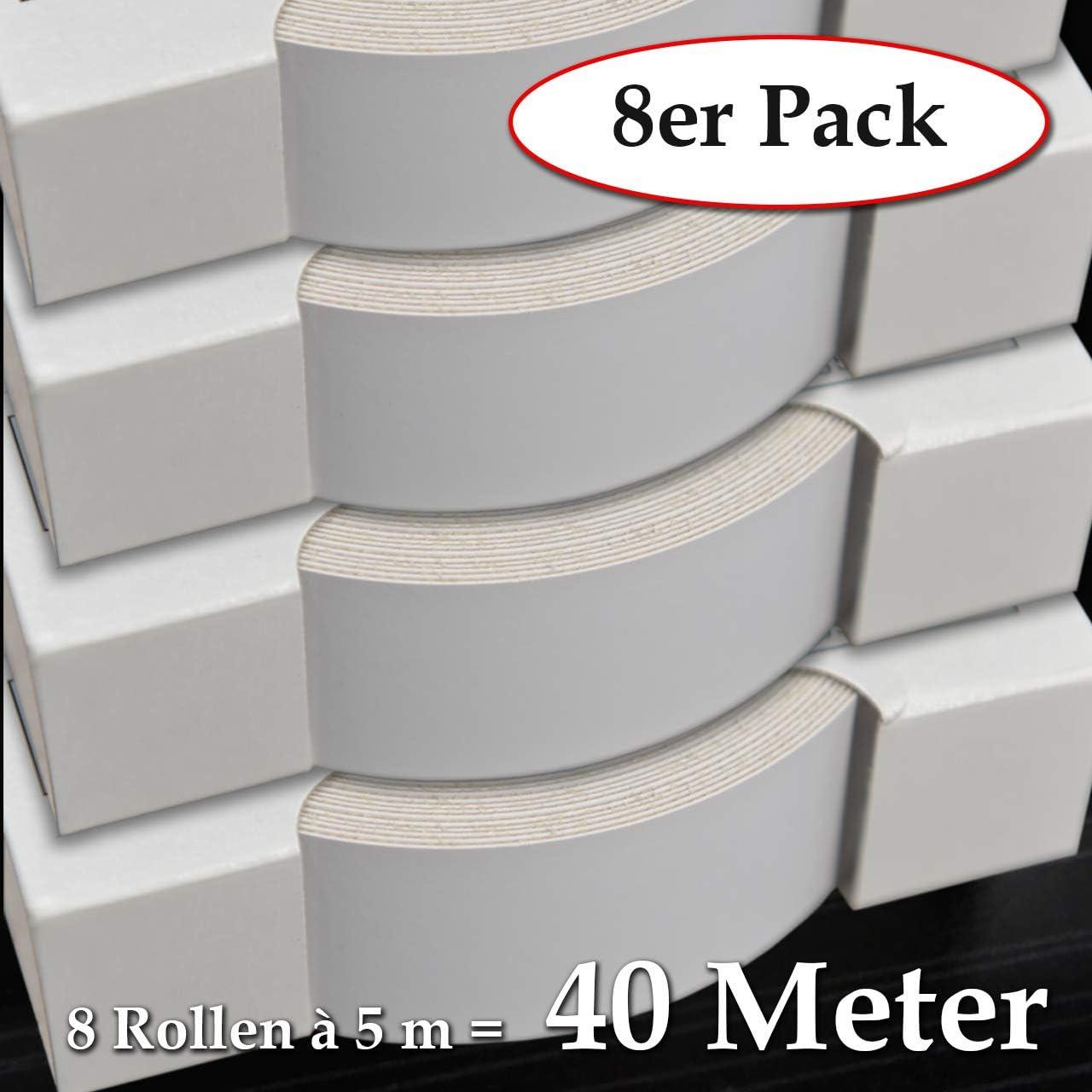 Kantenumleimer inkl Melaminkantenumleimer 10 m x 20 mm in Schwarz 2 x 5 m Rollen Umleimer mit SK glatt und strukturlos Schmelzkleber f/ür Regalb/öden und M/öbelbauplatten