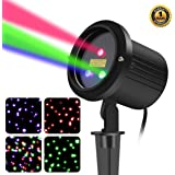 SUNYAO 3 Color Motion Laser Christmas Lights Projector with RF RemoteOutdoor Garden Laser Lights Moving RGB Stars Show…