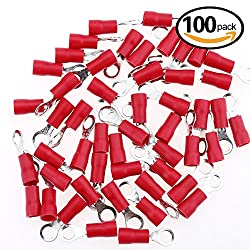 Glarks 100pcs 22-16 Gauge M4 Ring Electrical Insulated Quick Splice Crimp Terminals Connectors