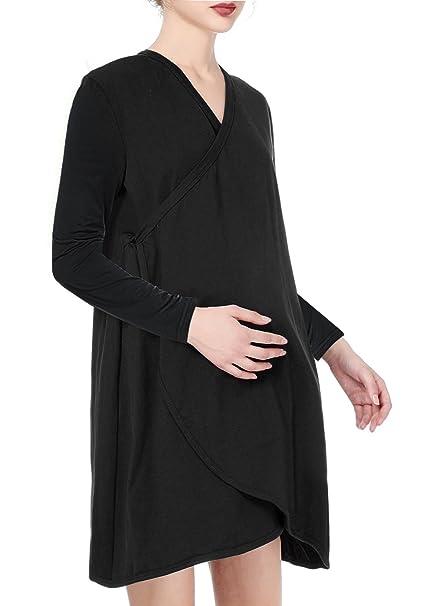 7fa113bab2ce5 Saifeier Women's Short Sleeve Maternity Robes Nursing/Breastfeeding  Nightgown Dress(XXL, Black1) at Amazon Women's Clothing store: