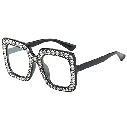 LUOEM Grandes Cuadrado Gafas de Sol de Mujer con Cristal ...