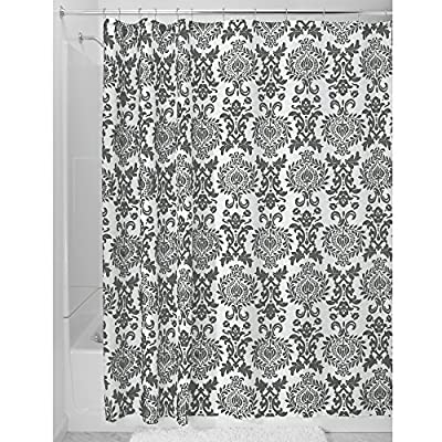 InterDesign Damask Shower Curtain, Long 72 x 84, Charcoal Gray - Machine washable, easy care Use of liner recommended, check out InterDesign's extensive liner collection. 12 rustproof metal grommets with a reinforced top-header - shower-curtains, bathroom-linens, bathroom - 61bRe5qTtXL. SS400  -