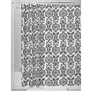 Interdesign Damask Shower Curtain Long 72 X 84 Charcoal Gray Home Kitchen