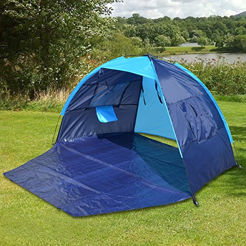 2ed25cc92bec Strong Camel POP UP POTABLE BEACH SHELTER TENT CAMPING SUN SHADE OUTDOOR  CANOPY (Light Blue with Dark Blue ) - Buy Online in UAE.