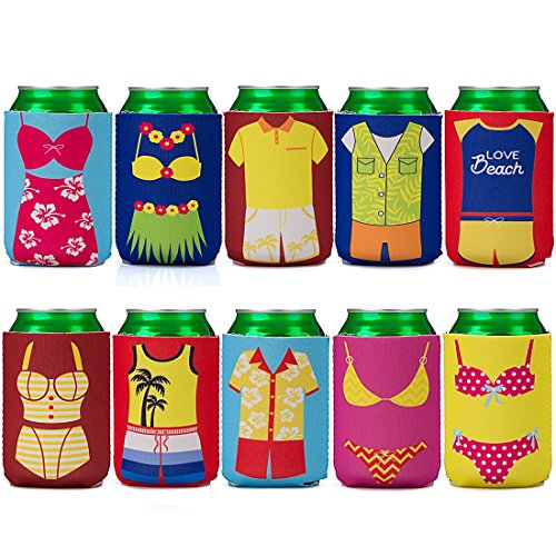 Avery Barn 10pc Mixed Design Fun Outfit Theme Neoprene Zipper Sleeve Insulated Beer Can Covers - Set 2: Summer Lovin