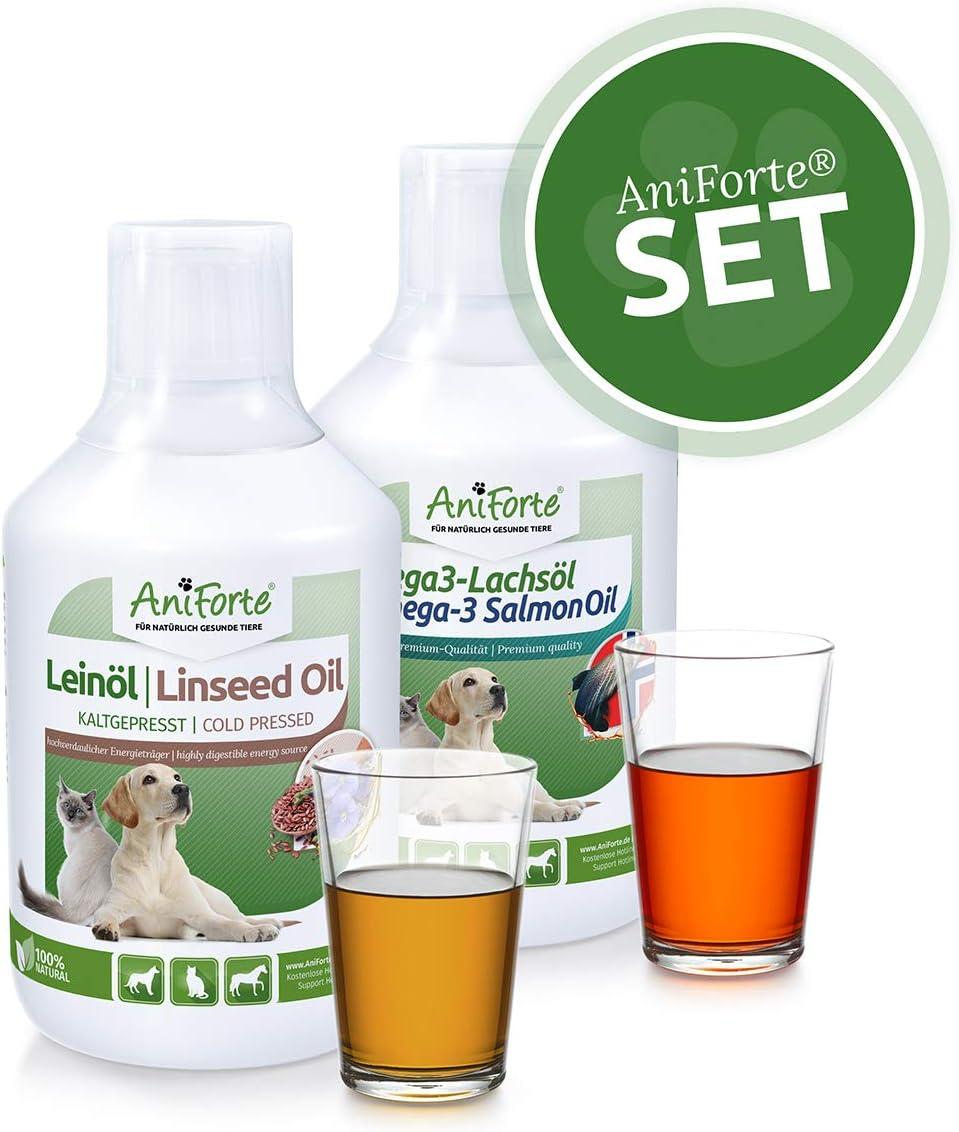 Set Aceites Barf 1 l. | Aceite de Linaza 500 ml. | Aceite de Salmón 500 ml. | Fuente de Ácidos Grasos Esenciales | Para Perros, Gatos y Caballos | AniForte
