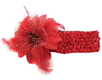 Blume und Feder rot Haarschmuck