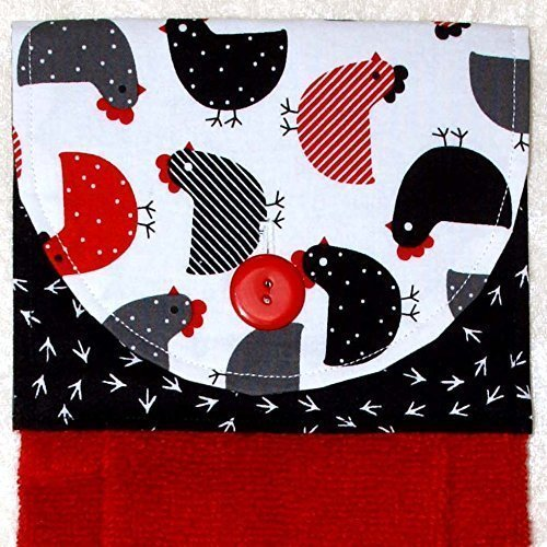 Hanging Hand Towel - Kitchen Towel - Plush Red Towel - Red & Black Chicks And Footprints Fabric ()