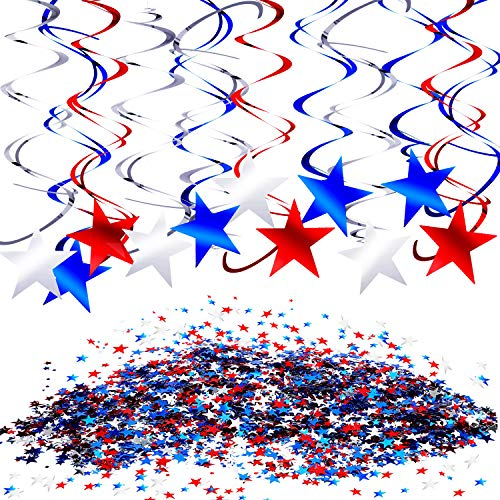 Independence Day Party Decoration Set, include 30 Pieces Hanging Swirl Decorations and Patriotic Table Confetti (1.76 oz) for 4th of July Party Supplies, Red, Blue and White