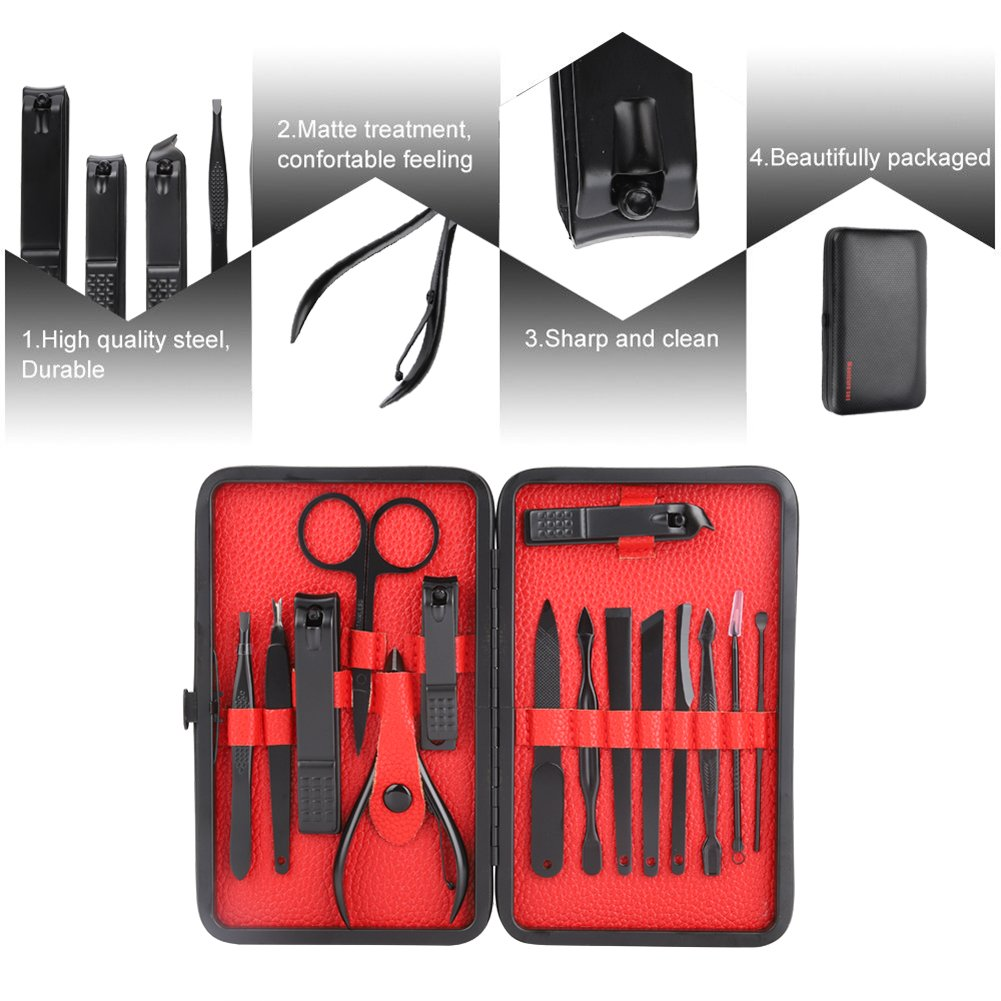 Nail Clipper Travel Set, 15Pcs Manicure Pedicure Set, Stainless Steel Nail Clipper, Professional Grooming Kit With Storage Case, Care Kit Gift for Men & Women (Red)