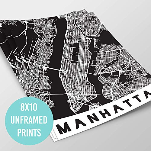 5 Boroughs NYC Map Prints - New York City Wall Art Black & White | Manhattan Brooklyn Bronx Queens Staten Island | New York Posters | Street Maps for The City & Boroughs | 8x10 UNFRAMED PRINTS - Antique Nyc
