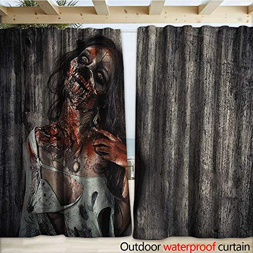warmfamily Zombie Blackout Curtain Angry Dead Woman Sacrifice Fantasy Design Mystic Night Halloween Image W108 x L108 Dark Taupe Peach Red
