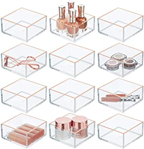 mDesign Plastic Stackable Drawer Organizer for Home Office, Desk Drawer, Shelf or Closet to Hold Staples, Highlighters, Adhesive Tape, Paper Clips, Stamps - Square, 12 Pack - Clear/Rose Gold