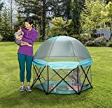 Regalo 6 Panel Foldable and Portable Play Yard with Carrying Case and Full UV Canopy, Aqua