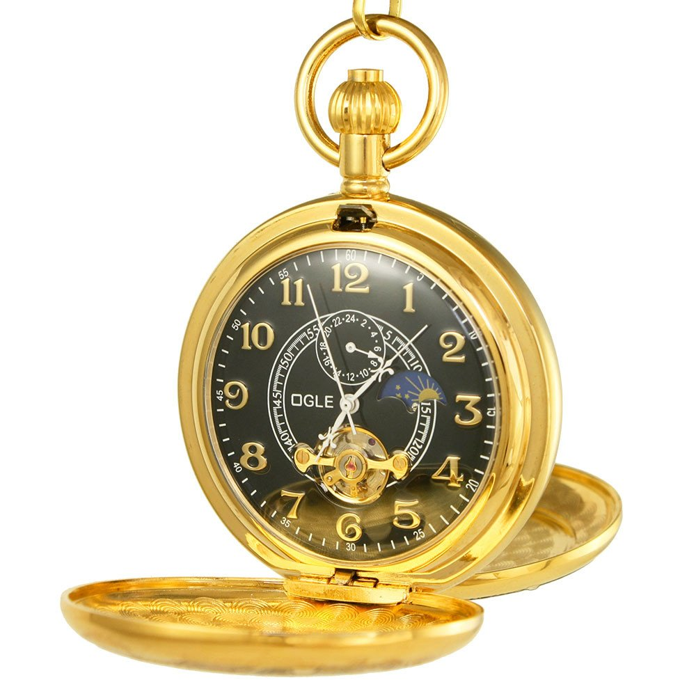 Ogle Vintage Copper Double Cover Tourbillon Phases Moon Chain Fob Self Winding Automatic Mechanical Pocket Watch/Gold Dial (Black Dial)