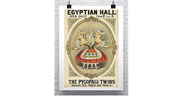 The Pygopagi Twins Vintage Freak Show Poster Rolled Canvas Giclee Print 24x32 in