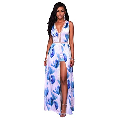 c49bd78e720c WorkTd Womens Flora Sleeveless V Neck Overlay Jumpsuit Rompers Maxi Dress