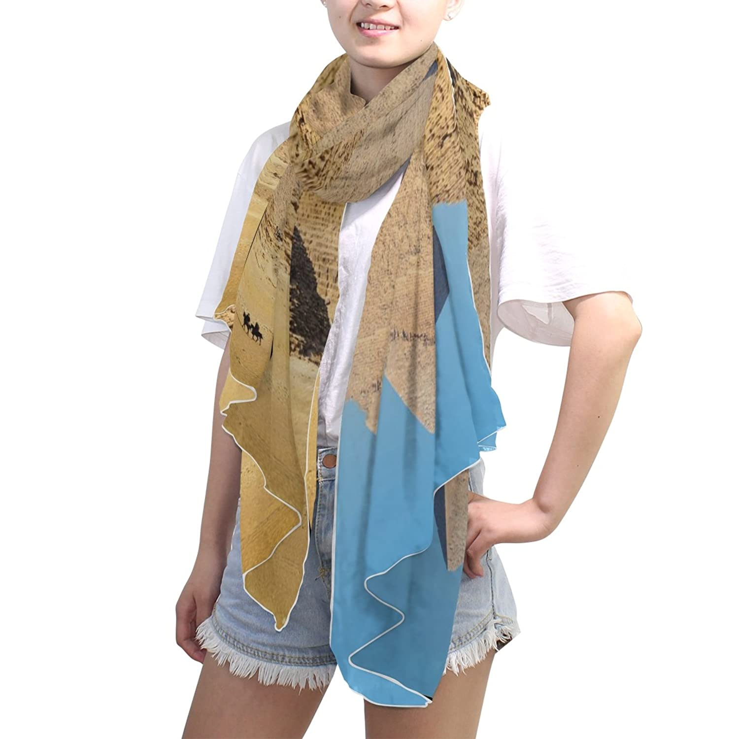 MRMIAN Blue Brown Design-6 Casual Long Lightweight Silk Chiffon Scarf Wrap