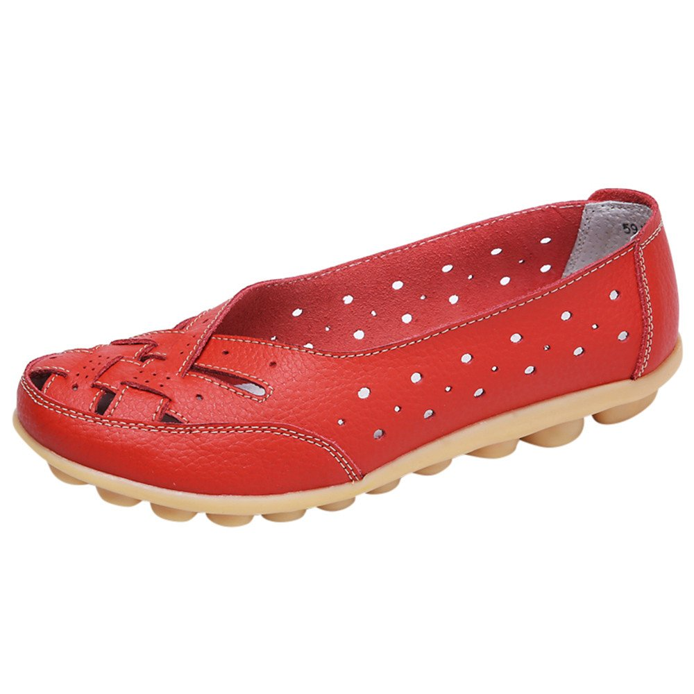 Sunnywill Chaussures Femme Flats, Cuir Chaussures Casual, Dames Pois Rondes Chaussures, Sandales Trou