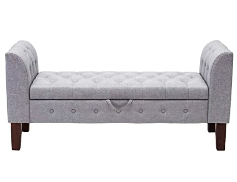 Astonishing Changjie Furniture Modern Fabric Storage Bench With Arms Upholstered Tufted Footstool Ottoman Bench For Living Room Bedroom Grey Bralicious Painted Fabric Chair Ideas Braliciousco