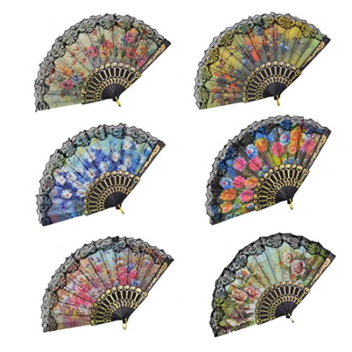 "Windspeed Spanish Women Floral Folding Hand Fan Size 9"" Pack of 10 Pieces Random Color"
