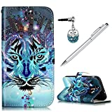 for Samsung Galaxy J3 Emerge Case Wallet, 3D Colorful Painting Pattern PU Leather Folio Wallet Case with Kickstand Card Holders TPU Inner Shell Magnetic Flip Cover for Samsung Galaxy J3 2017 - Tiger