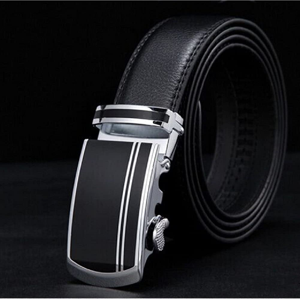 Mens Leather Ratchet Dress Belt with Automatic Buckle