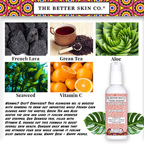 The Better Skin Co.   Gel Kleanse - Facial Cleanser W/Charcoal, French Lava, Green Tea, Aloe To Detoxify & Cleanse The Skin