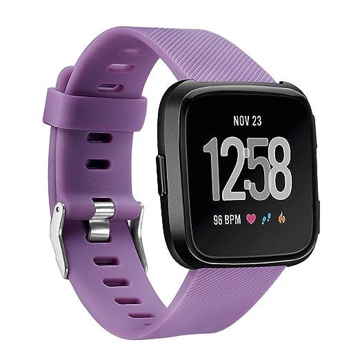 Suave muñequera de reemplazo Correa de Silicona para Fitbit Reloj Deportivo Versa Inteligente, Gran pequeño para Mujeres Hombres: Amazon.es: Relojes