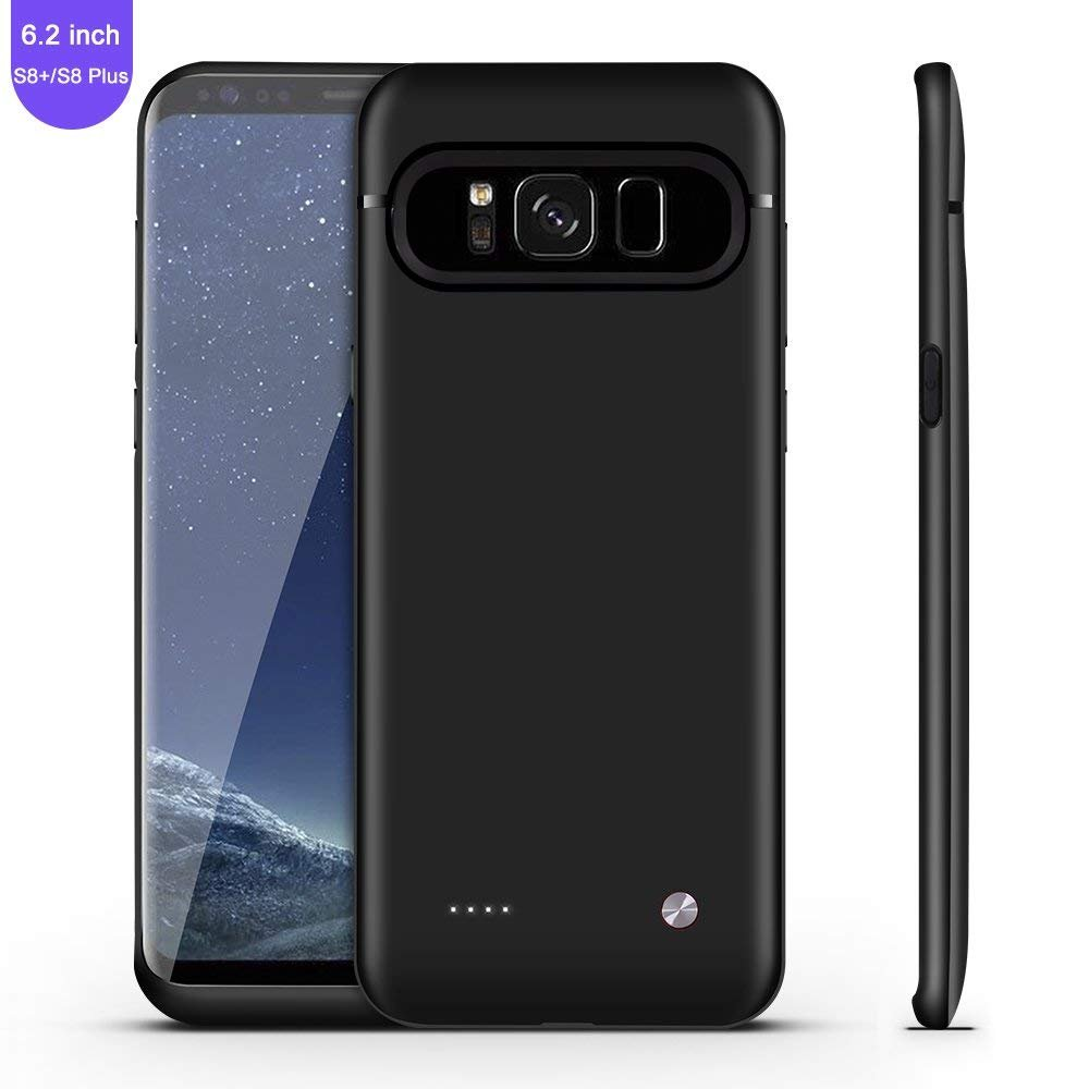 Galaxy S8 Plus Battery Case,FIDEA 5000mAh Rechargeable Slim External Battery Case,With Rechargeable External Battery,Portable Charger Juice Pack Power Bank Cover for Samsung Galaxy S8 Plus(Black)