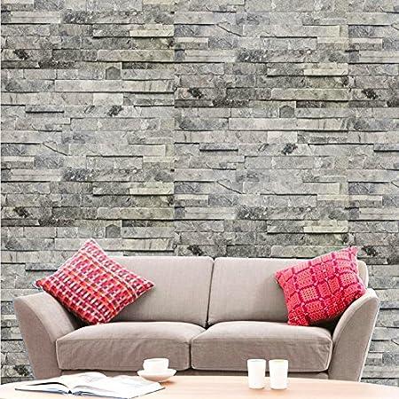 Hyfive Brick Effect Wallpaper 3D Stone Natural Grey 10m X 053 M