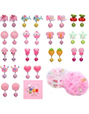 Barabum 15 Pairs Clip-on Earrings Girls Play Earrings for Party Favor, All Packed in 2 Clear Boxes+DIY Accessories