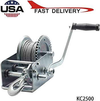 600lbs Capacity Heavy Duty Hand Winch Manual Operated Two-Way Ratchet ATV Boat Trailer Marine 600LBS Hand Crank Strap Gear Winch with 8m Steel Wire