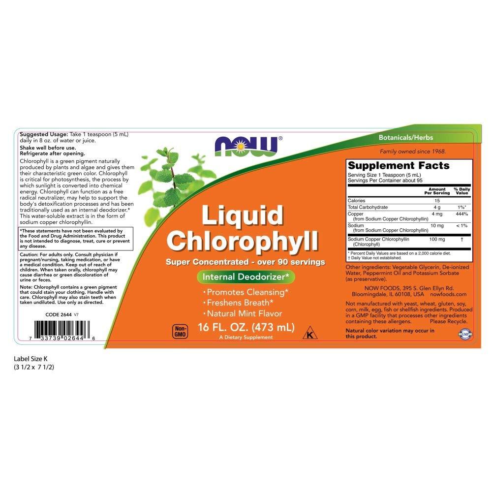 Now Foods | Clorofila líquida vegetal (liquid chlorophyll) | sabor a menta | 16 fl oz (473 ml) | sin gluten y soja: Amazon.es: Salud y cuidado personal