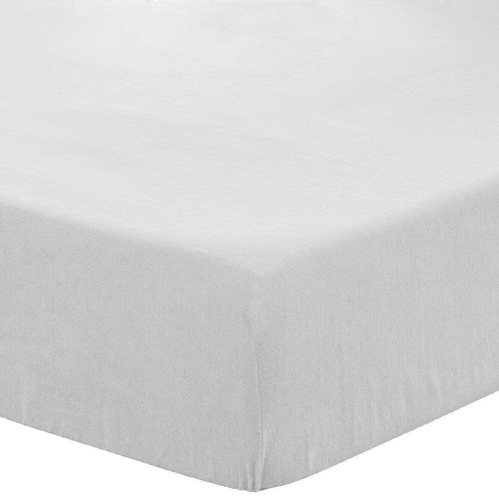 Fleece Fitted Bottom Sheet Hypoallergenic Deep Pocket Ultra Soft Micro Fleece 10 Twin XL Sheets (Split King - 5 Pack, White)