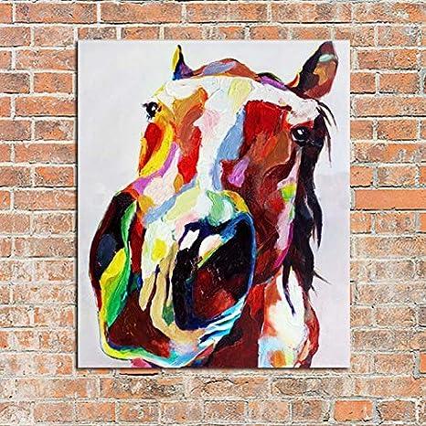 QTTZWZQ Pinturas Pintadas A Mano del Caballo De La Pintura Al Óleo En Lona Imágenes Abstractas Modernas De La Pared para La Decoración Casera