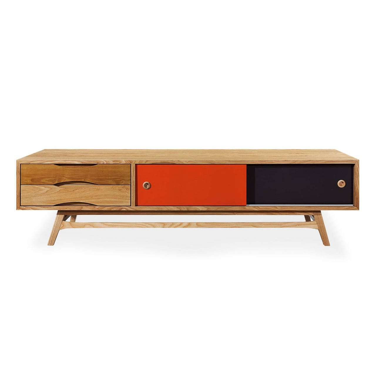 Kardiel Color Pop Mid-century Modern Media Cabinet, Oak/Orange & Charcoal Doors