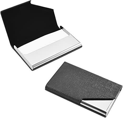 Cizen Tarjetero, Estuche para Tarjetas de Visita, 2 Piezas Cartera de Aluminio Multiuso, Caja de la Tarjeta de Visita (Negro): Amazon.es: Hogar