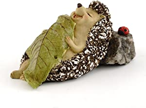 Top Collection 4408 Miniature Fairy Garden & Terrarium Hedgehog Sleeping with Leaf Blanket Statue, Small